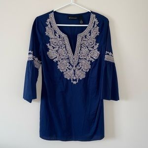 INC International Concept - Blue, embroidered top